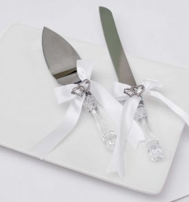 White Bow and Rhinestones Cake Knife and Server