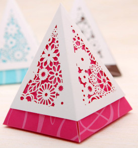 10 Pyramid Laser Cut Favor Box