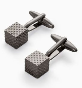 Gunmetal Textured Cube Cuff-links