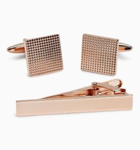 Rose Gold Tone Cuff-links and Tie Clip Set