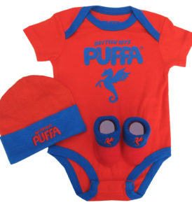 Puffa bodysuit Hat and Bootie Gift Set ( 0-6 months)