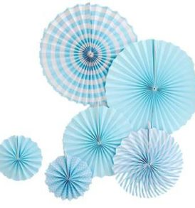 Blue pinwheel decorations