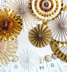Metallic Gold Paper Fan Wedding decorations
