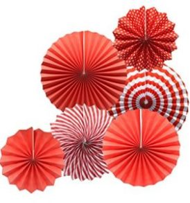 Red Pinwheel Paper Decorations