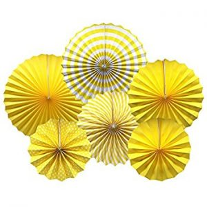 Yellow paper fan backdrop decorations