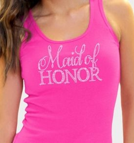 Maid of Honor Tank Top Magenta with Silver Rhinestones