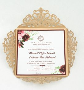 Unique Gold Laser Cut Wedding Initation