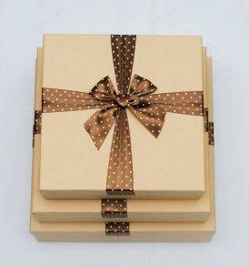 Kraft Gift Boxes with Brown Ribbon