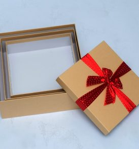 Kraft Gift Boxes with Ribbon