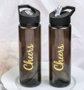 Cheers Gold Printed Transluscent Water Bottle