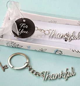 Thankful key holder wedding favors